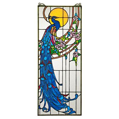 Peacock's Sunset Stained Glass Window Panel