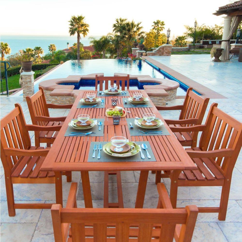 English Garden Eucalyptus 7-Piece Patio Dining Set with Rectangular Extension Table
