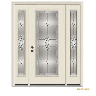 66 in. x 80 in. Full Lite Kingston Primed Steel Prehung Right-Hand Inswing Front Door with Sidelites