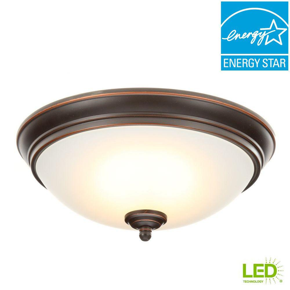 Commercial Electric 11 In 60 Watt Equivalent Oil Rubbed Bronze Integrated Led Flush Mount With Frosted White Gl Shade