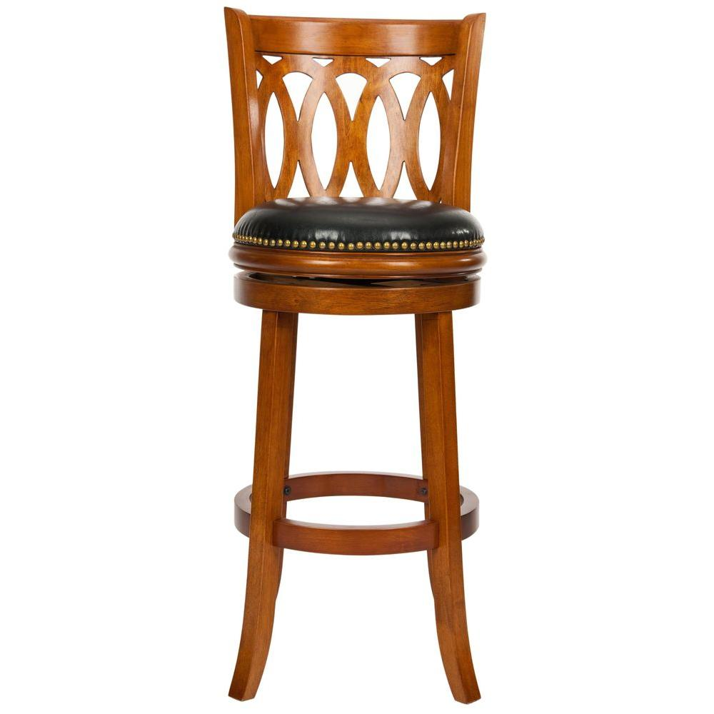 oak counter stools safavieh baldwin 29 in oak swivel cushioned bar 1132