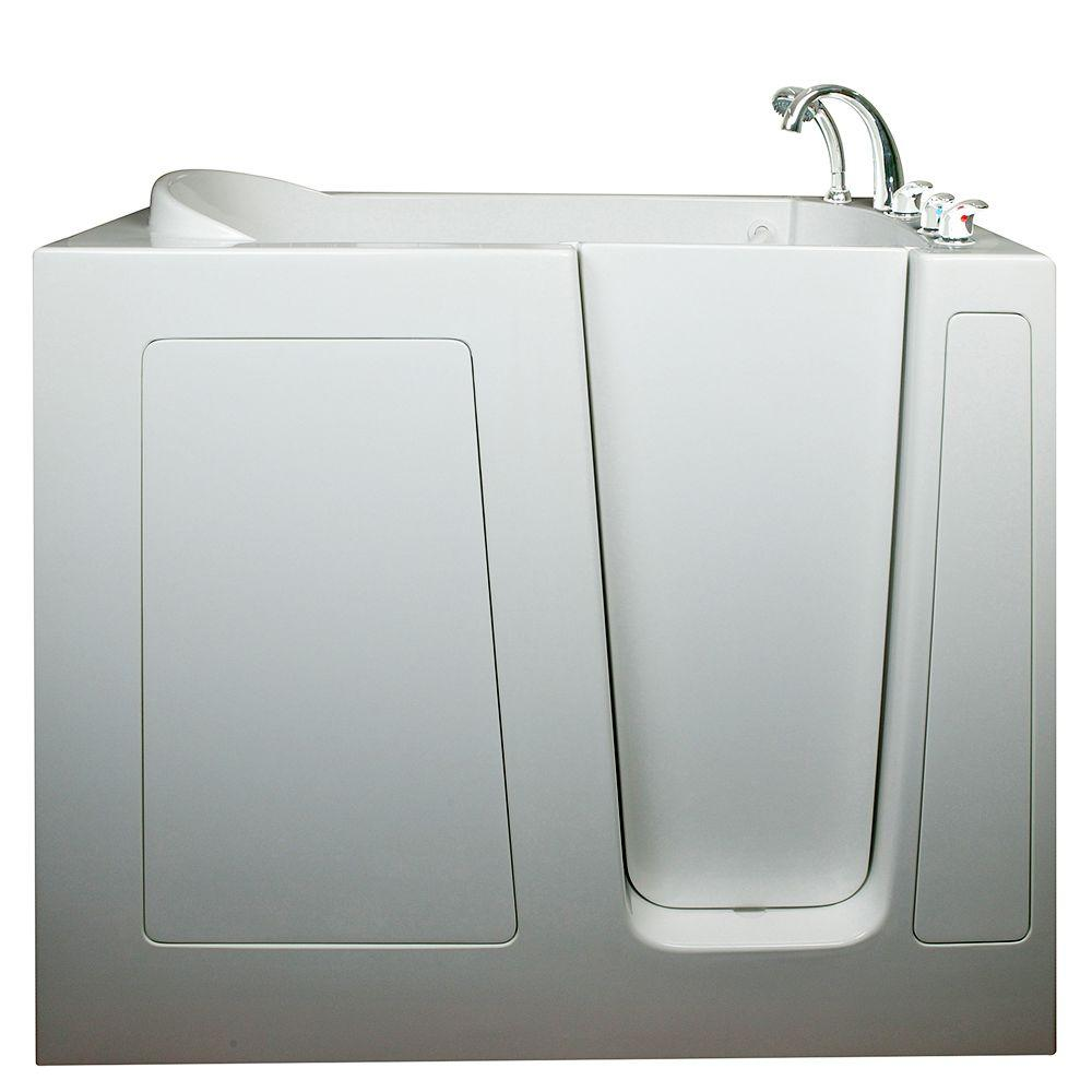 Ella Deep 4.58 ft. x 30 in. Walk-In Air Massage Bathtub in White ...