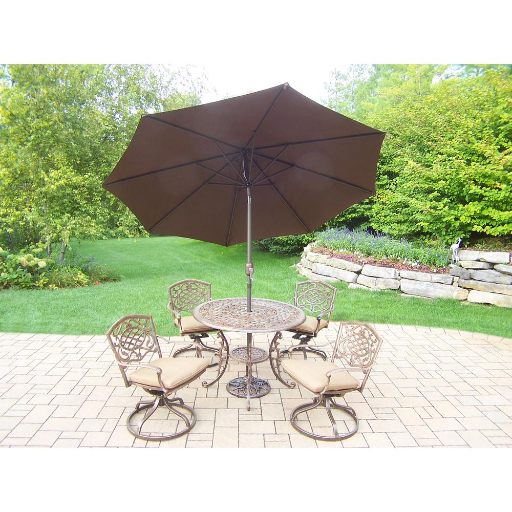 7-Piece Aluminum Outdoor Dining Set with Sunbrella Beige Cushions and Brown