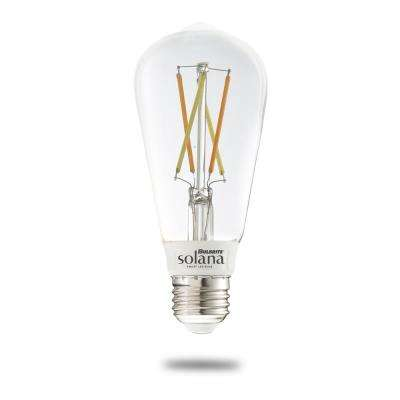 Solana 60-Watt Equivalent ST18 Dimmable Smart Wi-Fi Connected LED Light Bulb Filament White (1-Bulb)