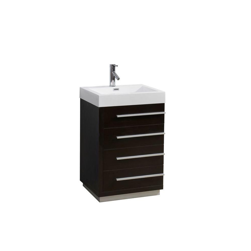 Virtu USA Bailey 24 in. W Bath Vanity in Wenge with Polymarble Vanity Top in White Polymarble with Square Basin