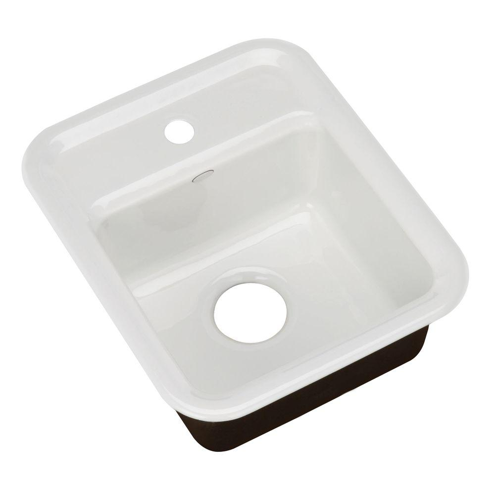 KOHLER Aperitif Self-Rimming Cast-Iron 16x9x7.625 1-Hole Entertainment Sink in White-DISCONTINUED