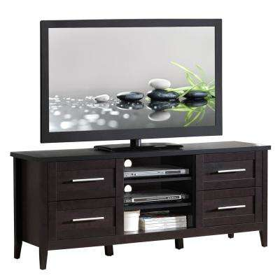 Espresso Elegant TV Stand with Storage for TVs Up To 70 in.