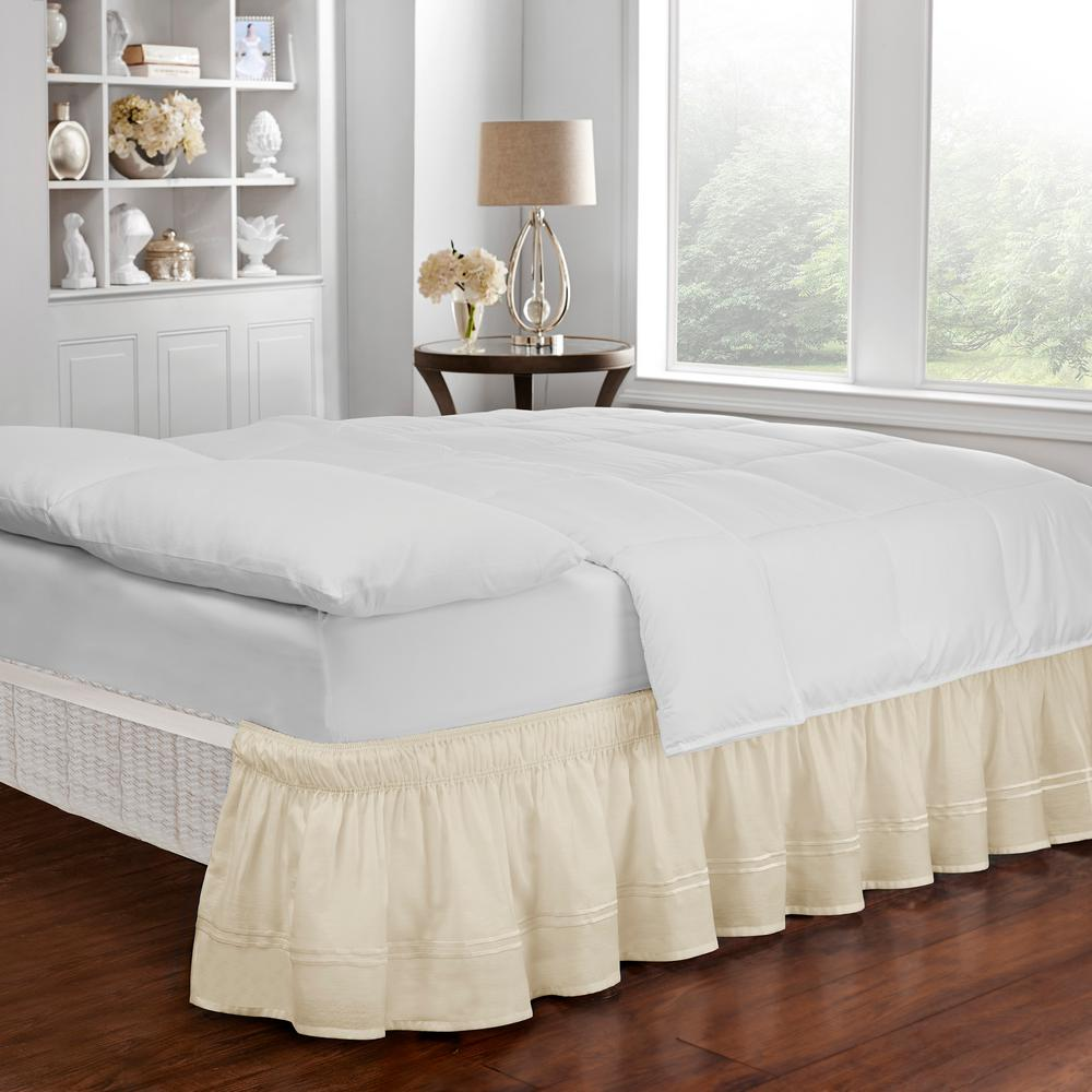 easy fit baratta ivory queen king bed skirt 16309beddqkgivy the home depot. Black Bedroom Furniture Sets. Home Design Ideas
