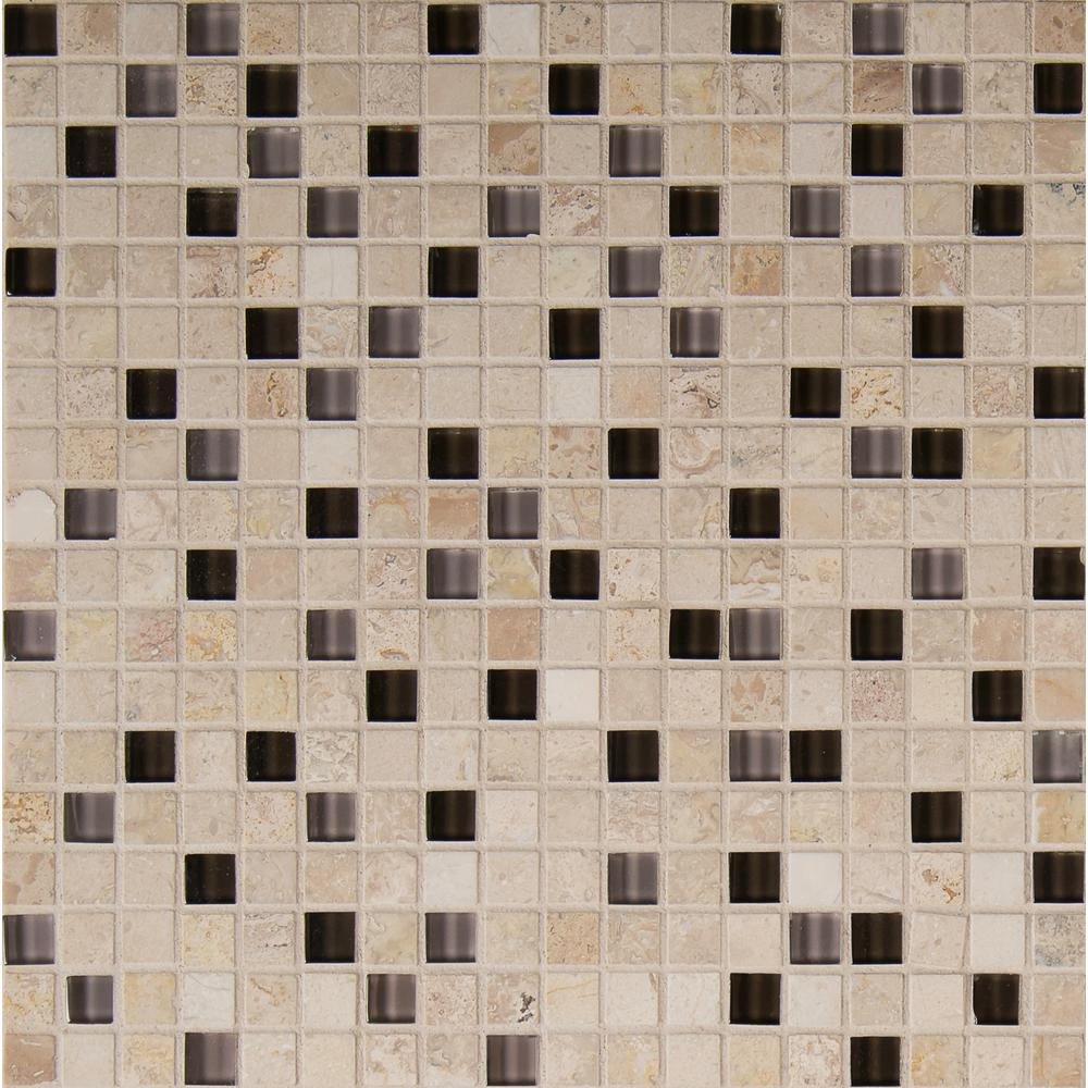 MSI Cafe Noche 12 in. x 12 in. x 8mm Glass and Stone Mesh-Mounted Mosaic Tile
