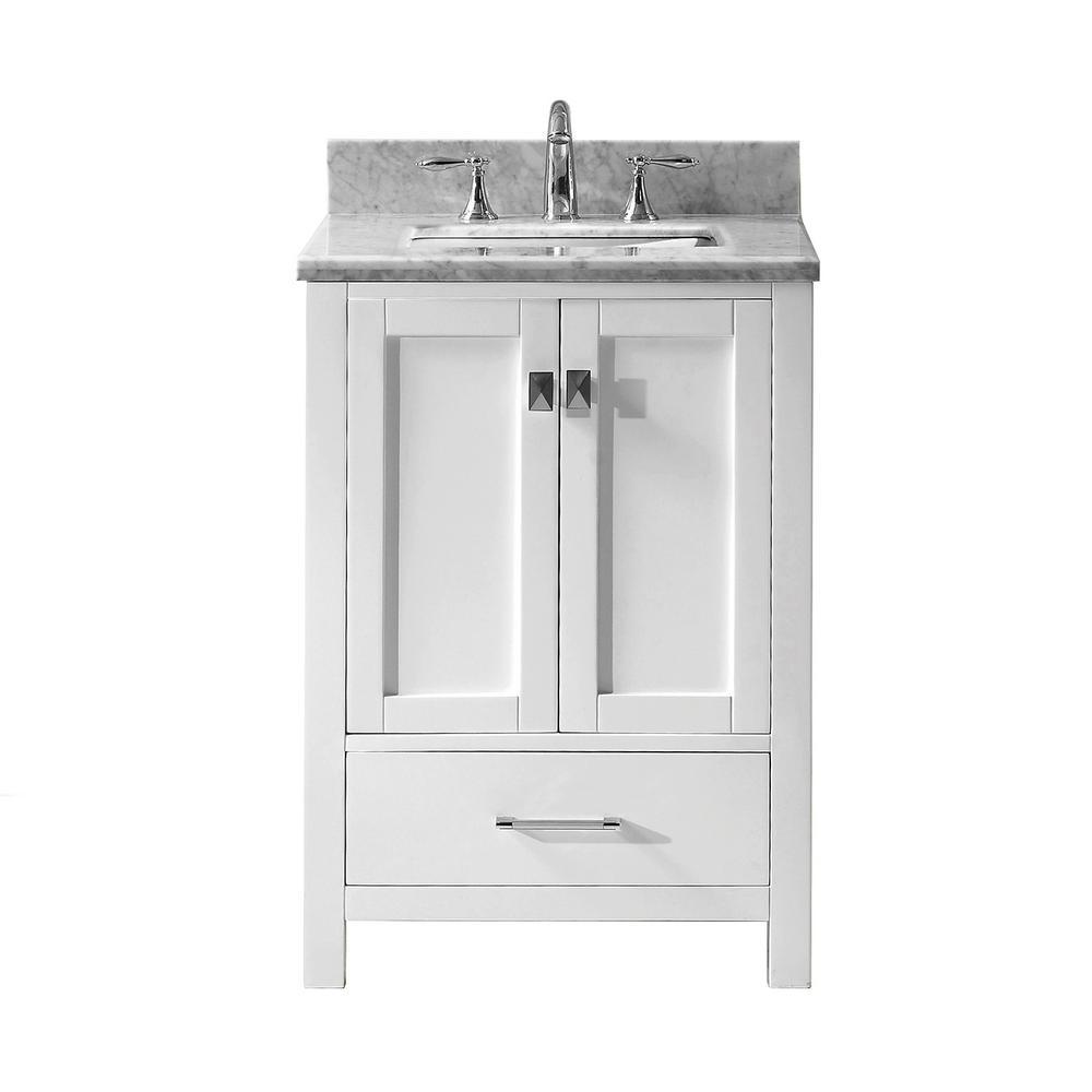 Virtu Usa Caroline Avenue 24 In W X 22 In D Single Vanity In White With Marble Vanity Top In