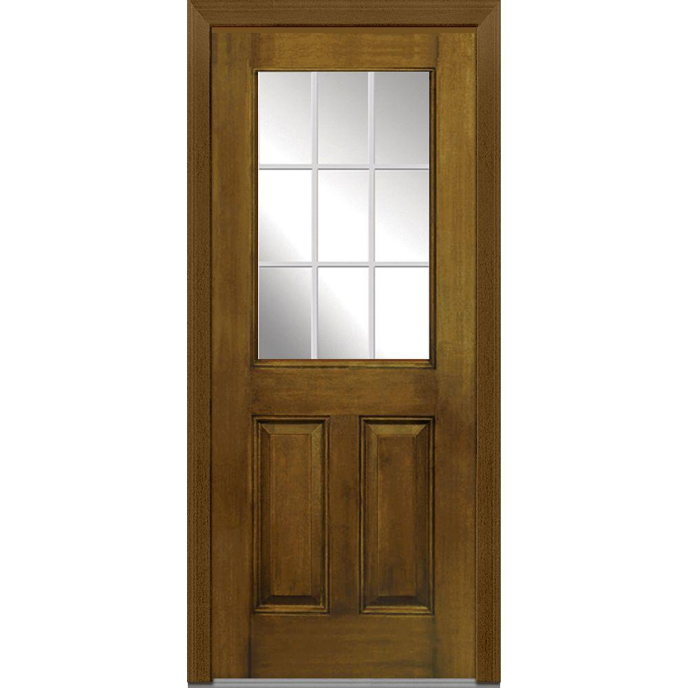 Mmi Door 36 In X 80 In Gbg Right Hand 1 2 Lite 2 Panel Classic Stained Fiberglass Mahogany