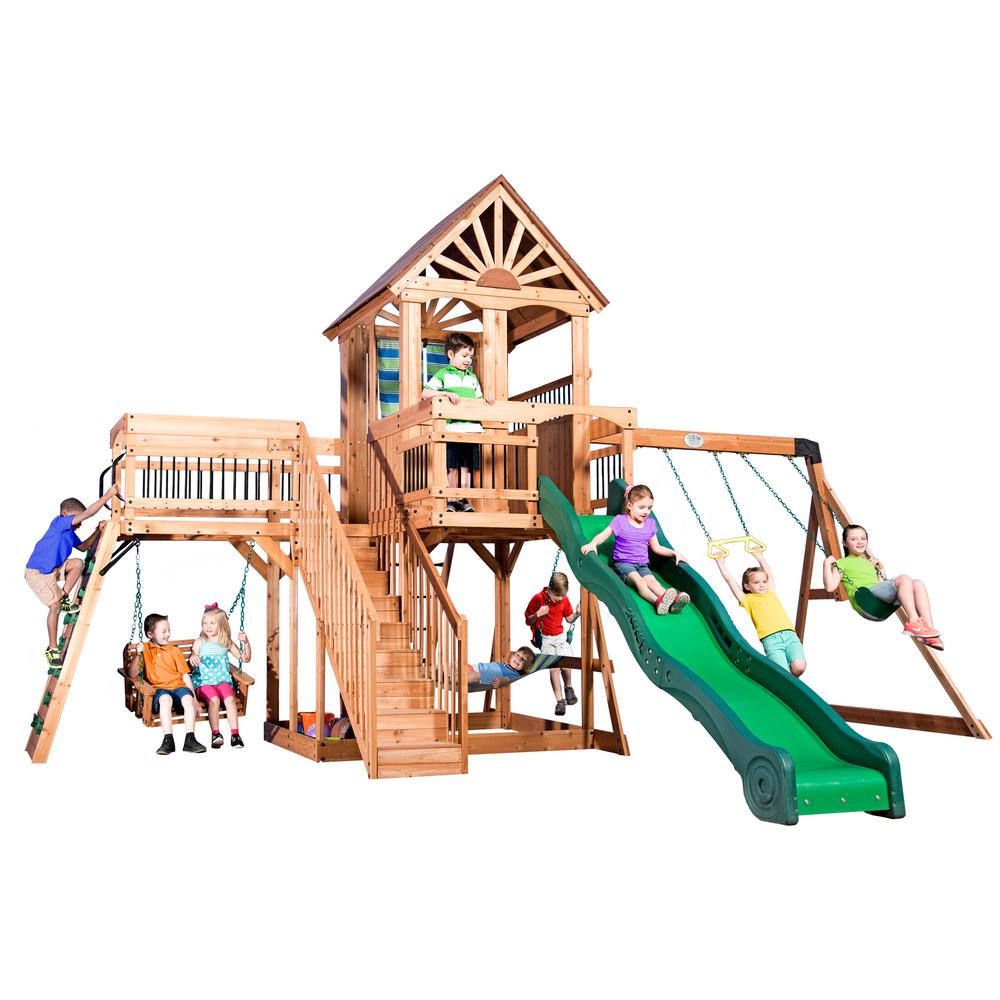 Backyard Discovery Caribbean All Cedar Playset 1606029com The Home
