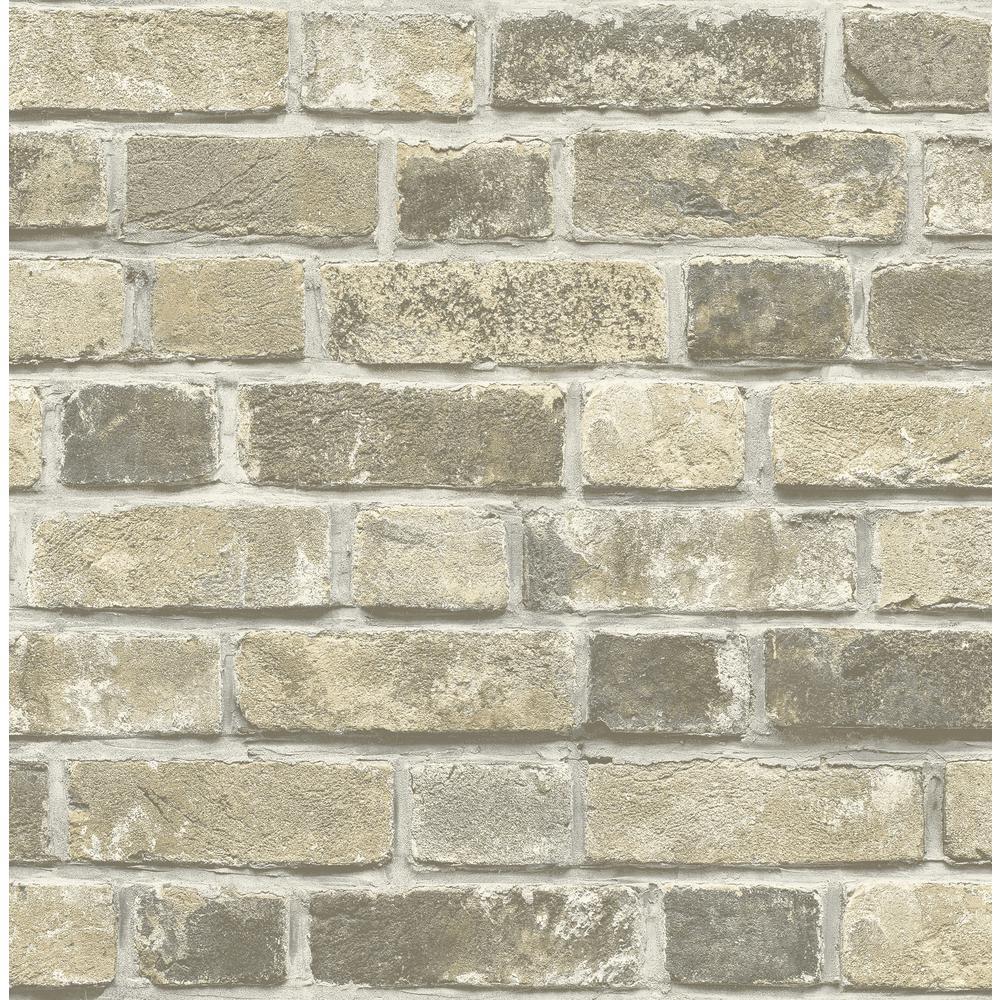 Distressed Neutral Brick Peel and Stick Wallpaper