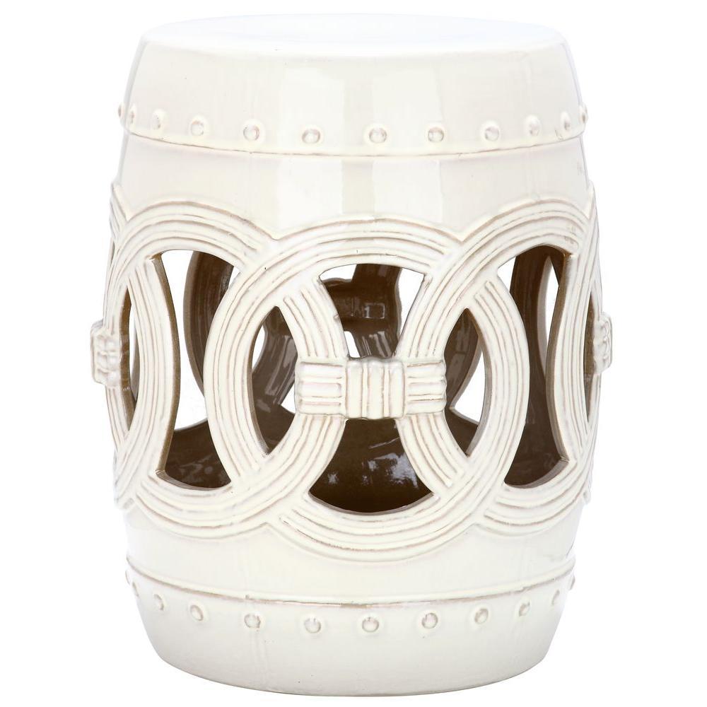 Double Coin Cream Ceramic Garden Stool
