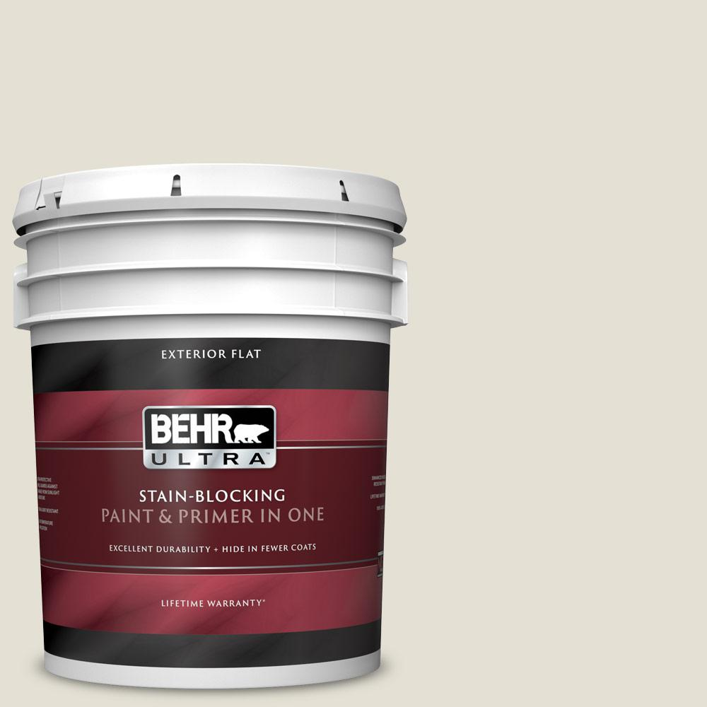 Behr Ultra 5 Gal N310 1 Sand Drift Flat Exterior Paint And Primer In One 485005 The Home Depot