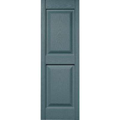 15 in. x 47 in. Raised Panel Vinyl Exterior Shutters Pair in #004 Wedgewood Blue