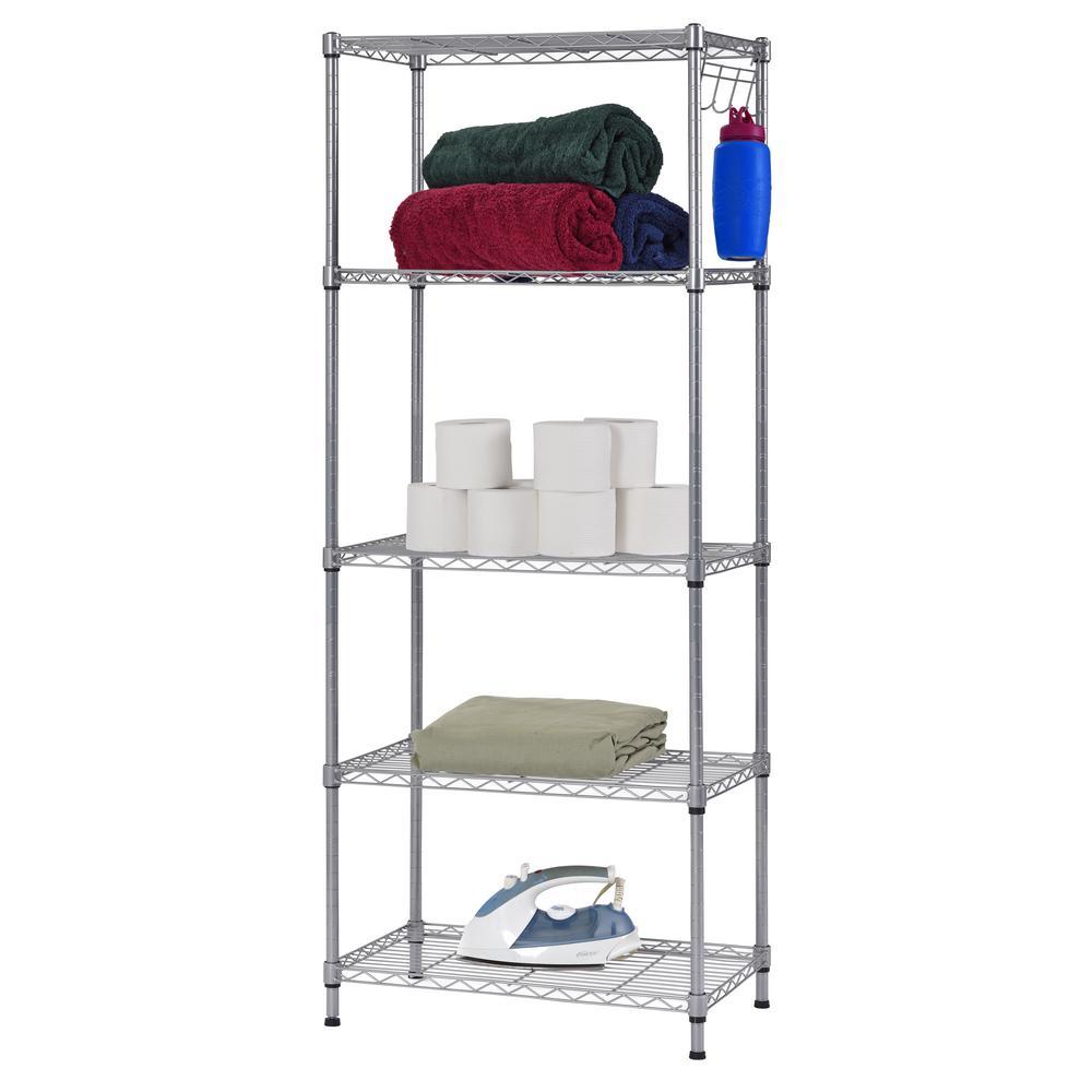 Muscle Rack 59 in  H x 24 in  W x 14 in  D 5-Shelf Wire Commercial Shelving  Unit