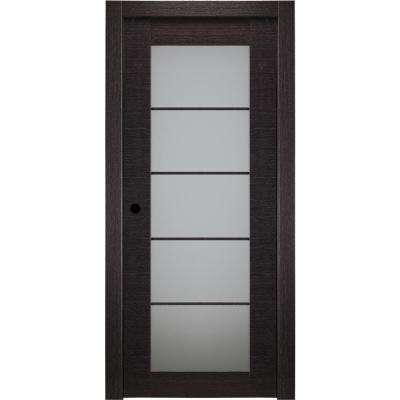 36 in. x 80 in. Avanti Black Apricot Right-Hand Solid Core Wood 5-Lite Frosted Glass Single Prehung Interior Door