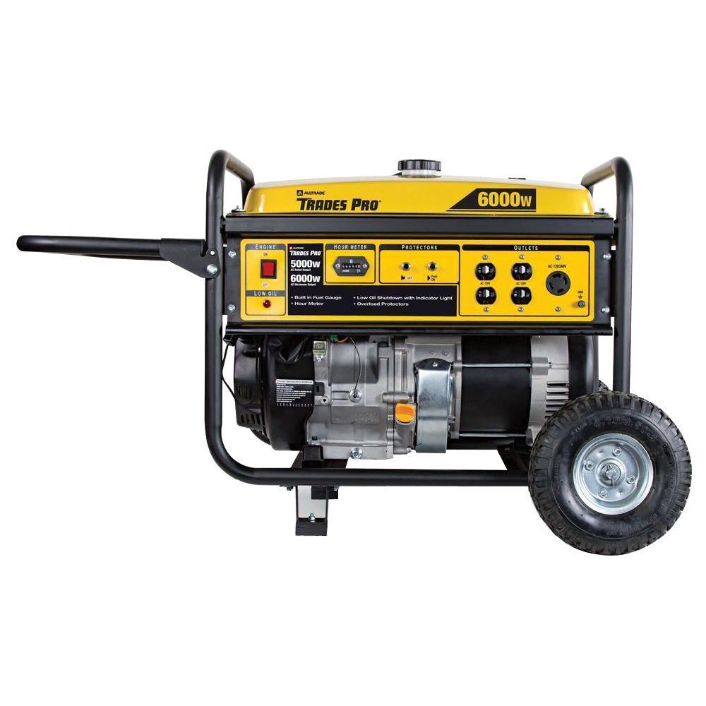 TradesPro 6,000-Watt Gasoline Powered Portable Generator