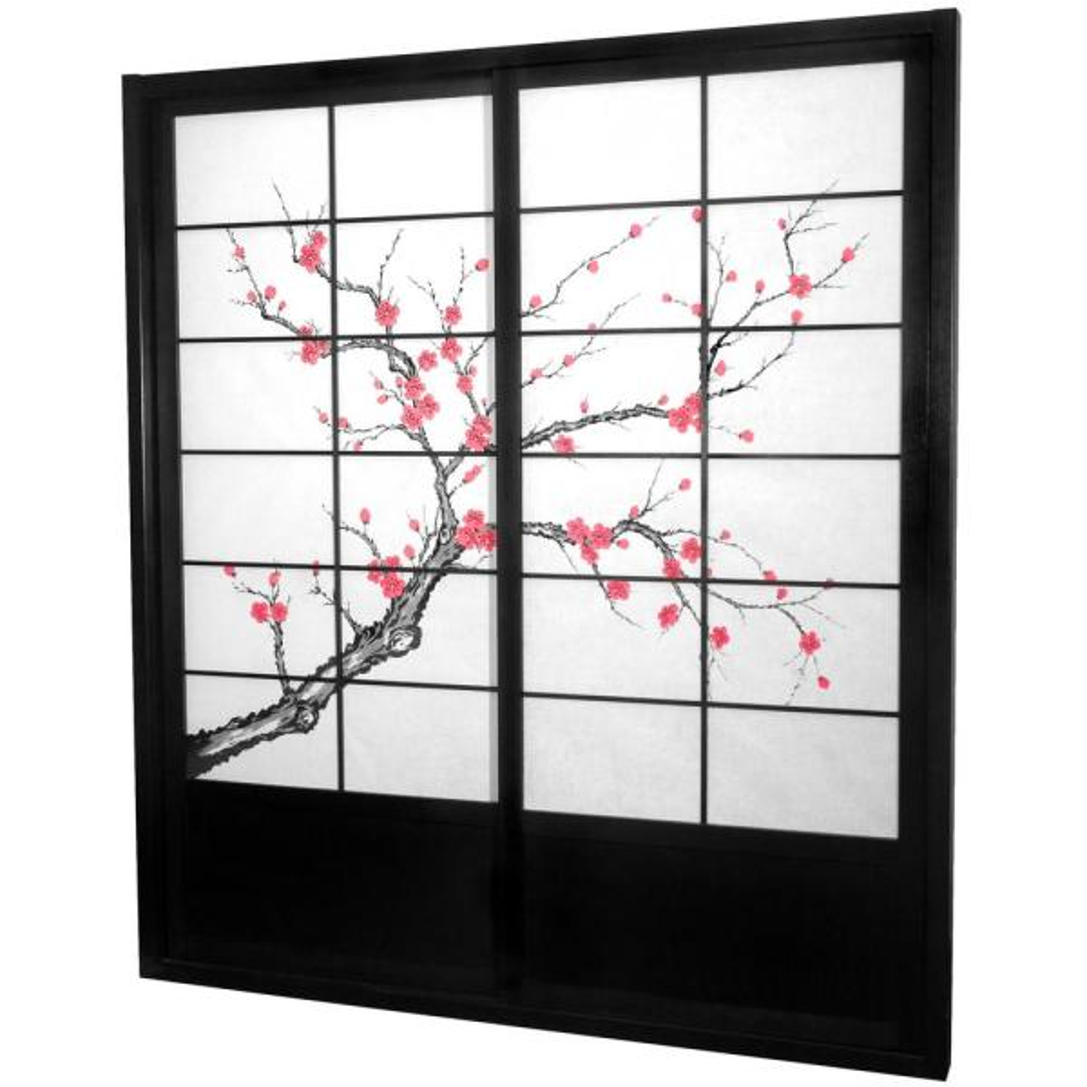 7 ft. Black Cherry Blossom 2-Panel Sliding Door