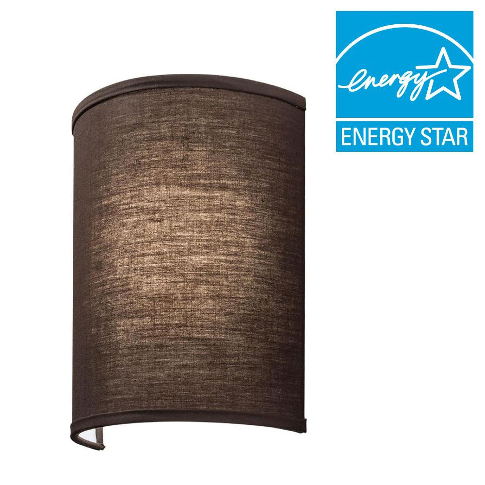 Lithonia Lighting Aberdale 11 in. LED Chocolate Brown Linen Sconce
