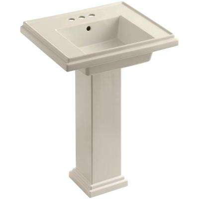 Tresham Ceramic Pedestal Combo Bathroom Sink with 4 in. Centers in Almond with Overflow Drain
