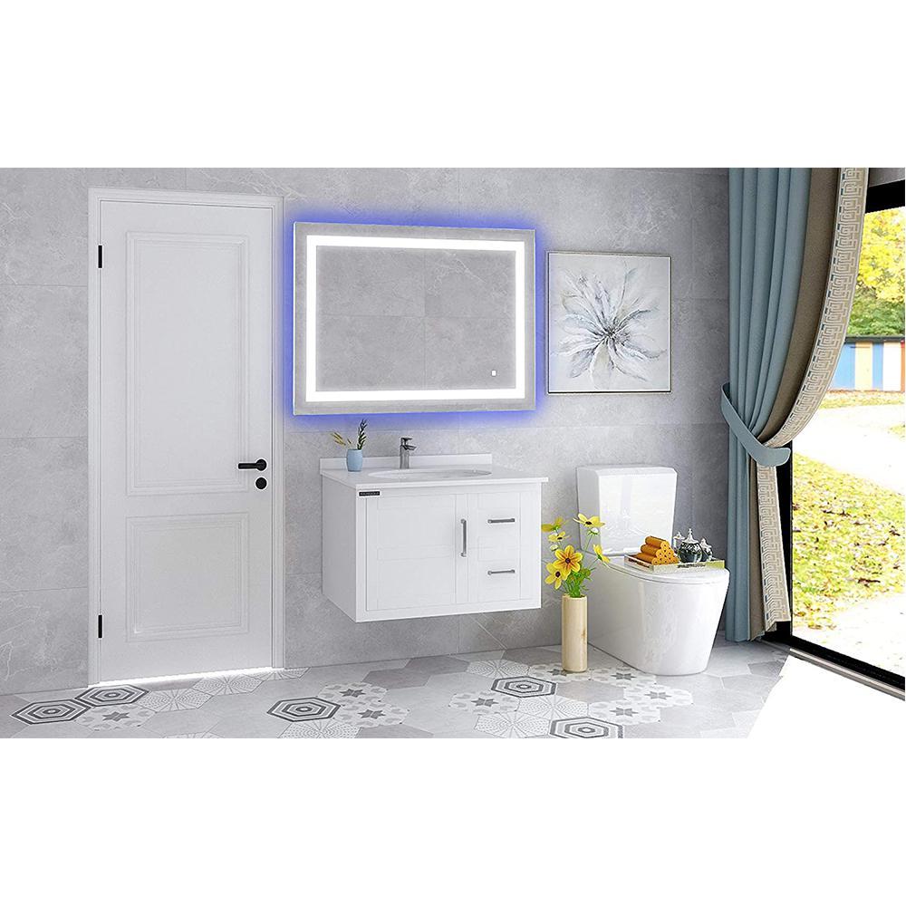 28.5 in. W x 39.5 in. H Frameless Rectangular LED Light Bathroom Vanity Mirror in Clear