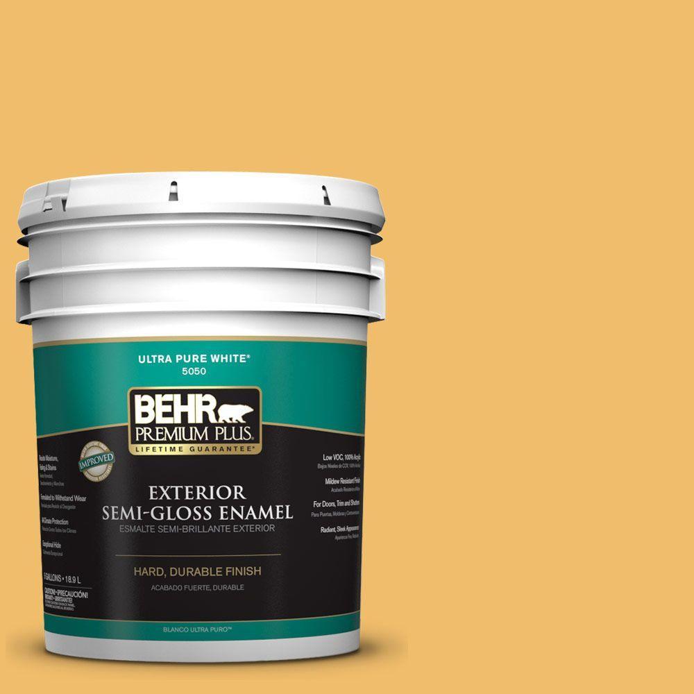 BEHR Premium Plus Home Decorators Collection 5-gal. #HDC-MD-24 Luscious Lemon Semi-Gloss Enamel Exterior Paint