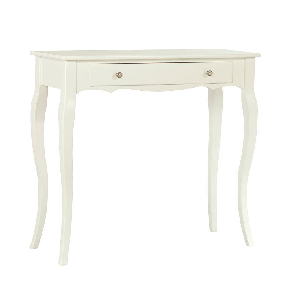 HomeSullivan Lisette Scalloped Front Console Table in Vanilla