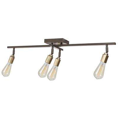 4-Light  Antique Brass Sockets Track Lighting Kit with Oil Rubbed Bronze Bulbs Included