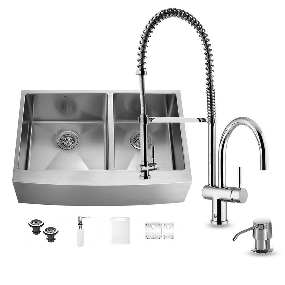 Vigo all in one farmhouse apron front stainless steel 36 for Best kitchen faucet for double sink
