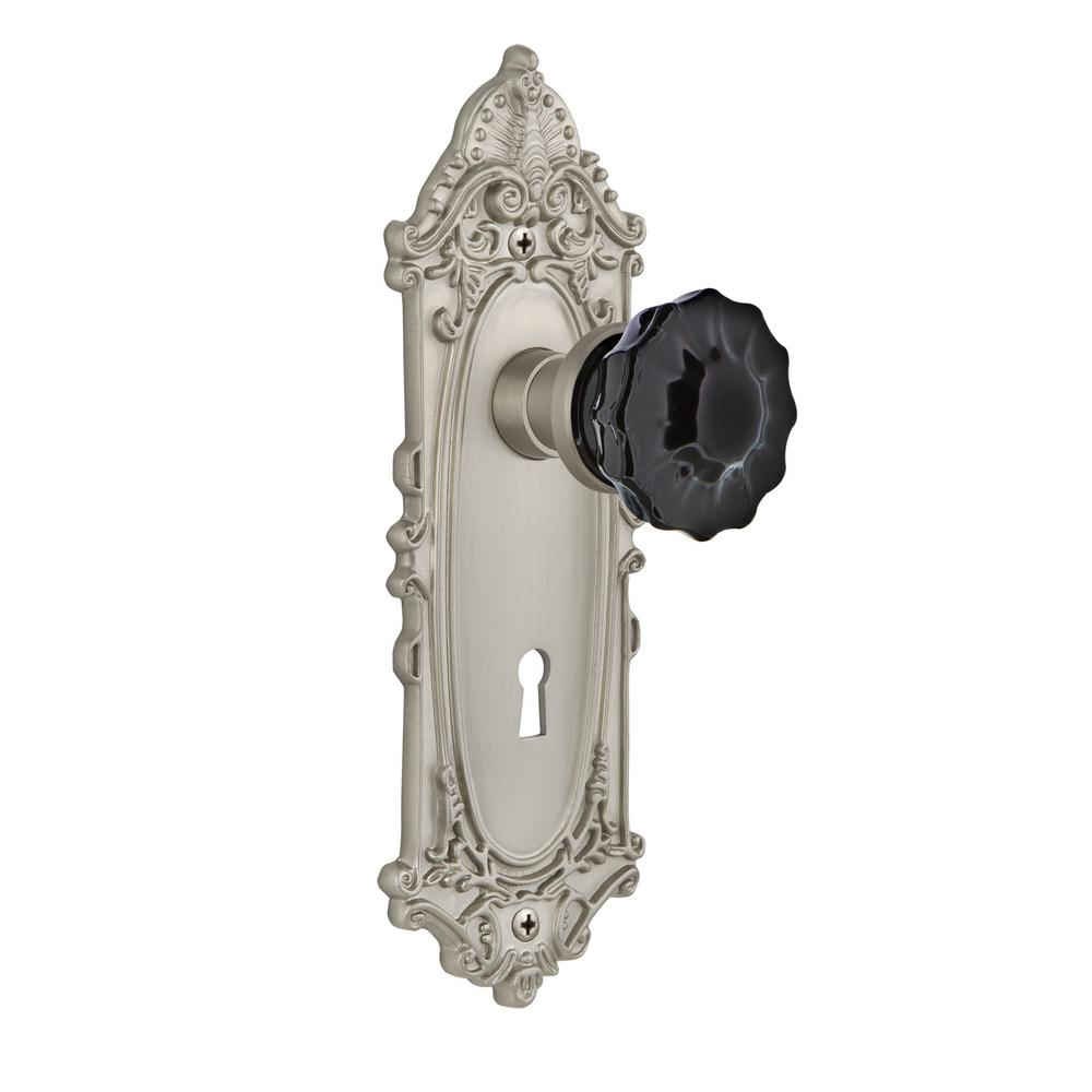 Victorian Plate Interior Mortise Crystal Black Glass Door Knob in Satin