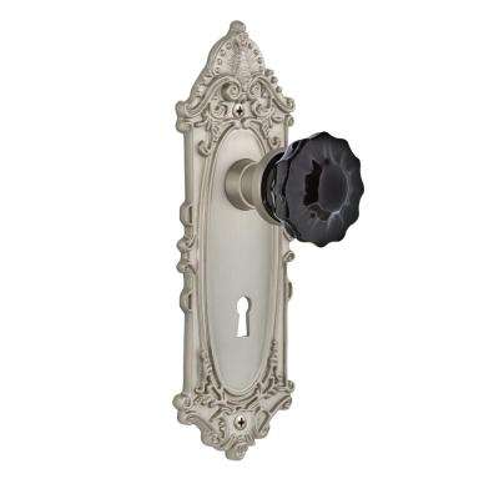 Victorian Plate Interior Mortise Crystal Black Glass Door Knob in Satin Nickel