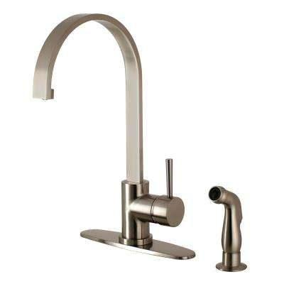 Concord Single-Handle Standard Kitchen Faucet with Side Sprayer in Satin Nickel