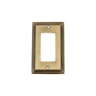 Deco Switch Plate with Single Rocker in Antique Brass