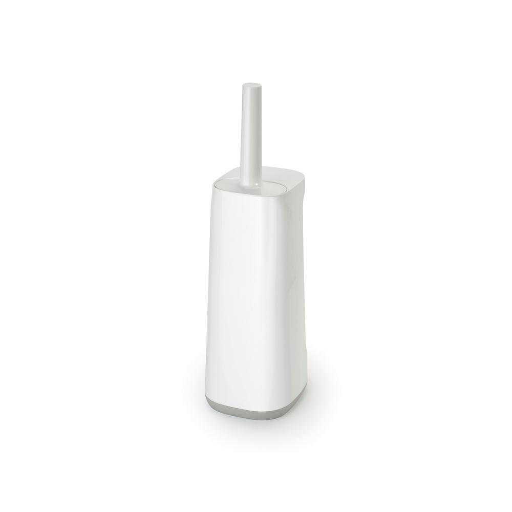 Joseph Joseph Flex Plus 17 in. Stainless Steel Smart Toilet Brush and Holder with Storage Bay in Grey/White
