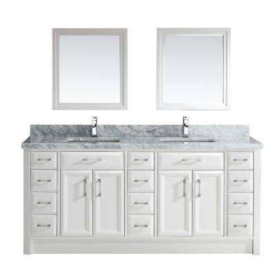 Calais 75 in. W x 22 in. D Vanity in White with Marble Vanity Top in Gray with White Basin and Mirror