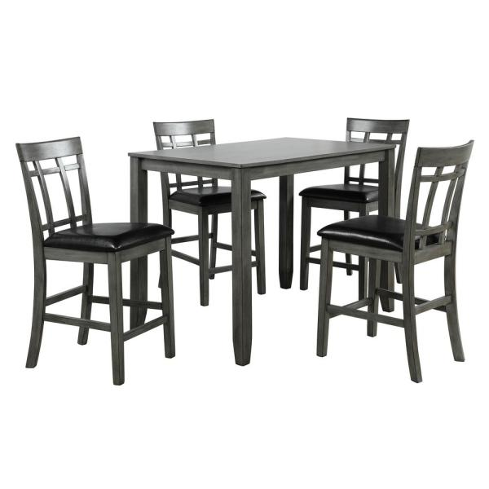Boyel Living 5 Piece Wood Dining Table Set Antique Graywash Black Tm Sh000095aae The Home Depot