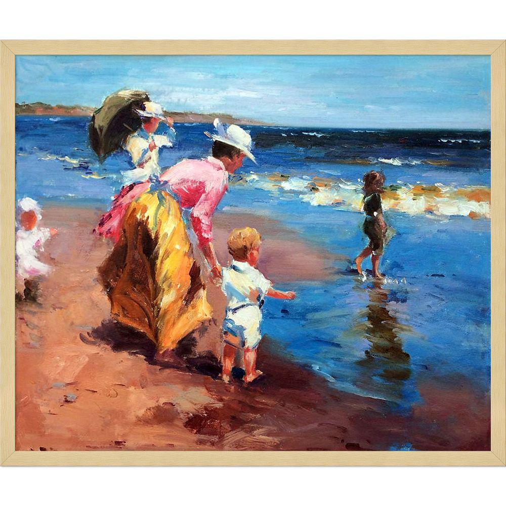 LA PASTICHE 21.5 in. x 25.5 in. At the Beach with Studio Blonde Wood by Edward Henry Potthast Framed Wall Art, Multi-Colored was $949.0 now $364.56 (62.0% off)