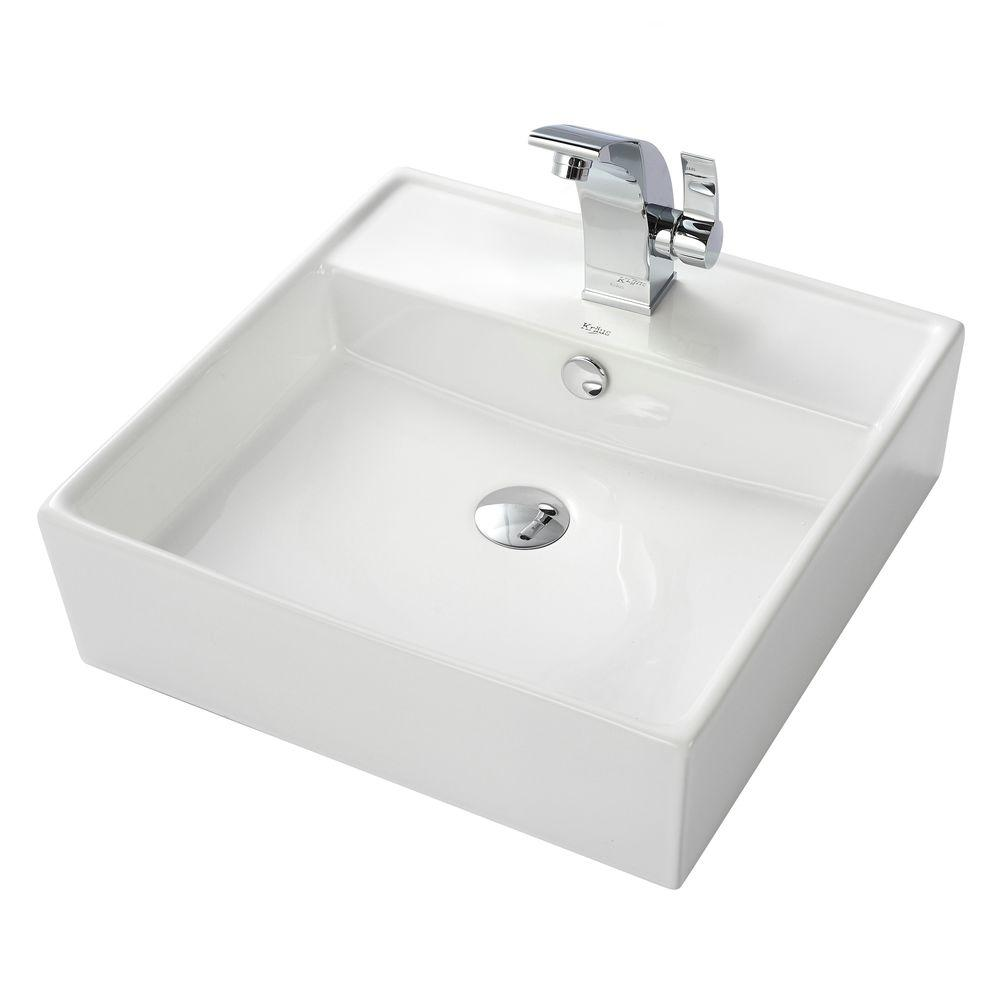 KRAUS Square Ceramic Vessel Sink in White with Illusio Vessel Sink Faucet in Chrome