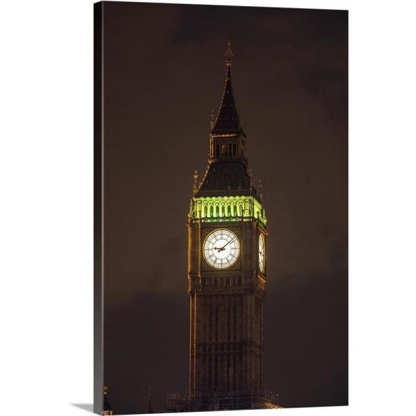 Big Ben At Night Westminster London England Uk By Circle Capture Canvas Wall Art