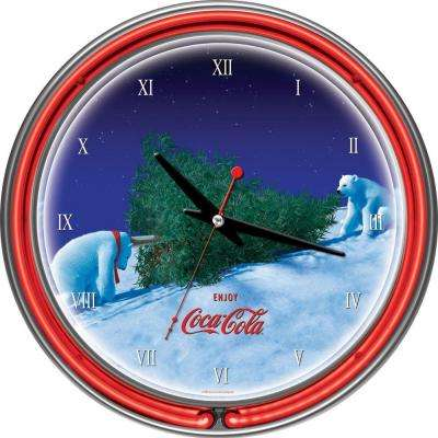 14 in. Coca-Cola Polar Bear with Tree Neon Wall Clock