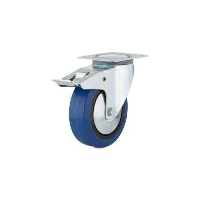 6-5/16 in. Blue Swivel with Double-Lock Brake plate Caster, 308.7 lb. Load Rating