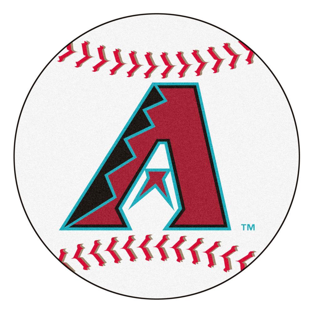 MLB Arizona Diamondbacks White 2 ft. 3 in. x 2 ft. 3 in. Round Accent Rug