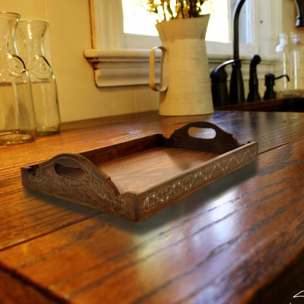 Benzara Traditional Brass Inlay Design Brown Wooden Tray