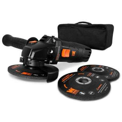 7.5 Amp Corded 4-1/2 in. Angle Grinder with Reversible Handle, 3 Grinding Discs and Carrying Case