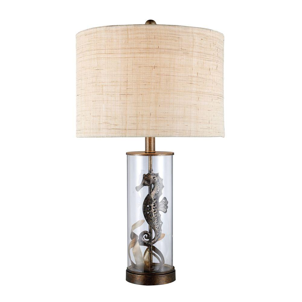 Bronze And Clear Glass Table Lamp With Natural Linen Shade