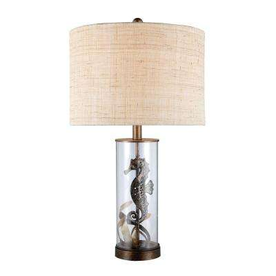 Largo 26 in. Bronze and Clear Glass Table Lamp with Natural Linen Shade