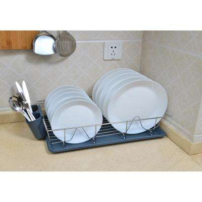 3-Piece Chrome Dishrack with Tray in Grey
