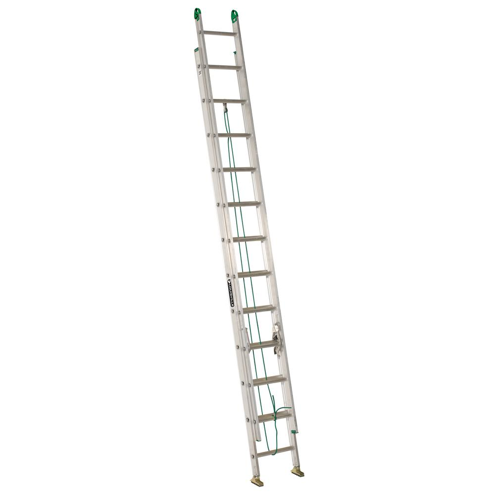 Werner 24 Ft Aluminum D Rung Extension Ladder With 375 Lb